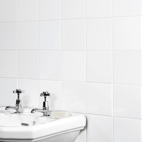 Plain white gloss ceramic tile the tile outlet belfast - White ceramic wall tiles bathroom ...